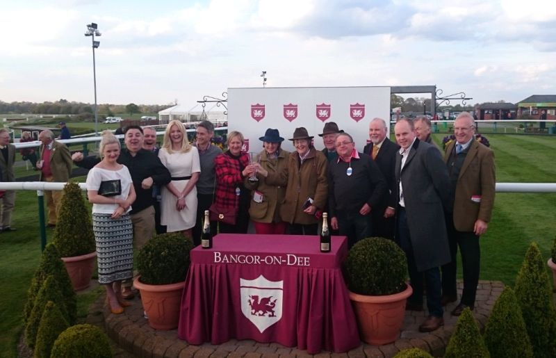 Sponors on the left and owners on the right.. A happy team after Mor Brook's win last night at Bangor