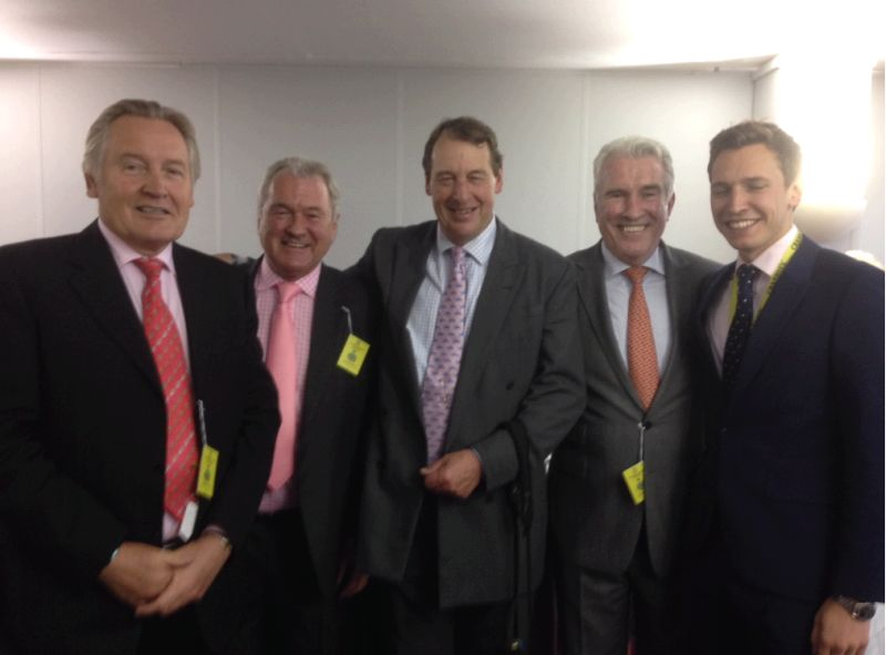 The Rainbow Hunters owners. Stepehen Cannon, Kevin Clancy, Me , Dermot Clancy and Oli Bell before the Grand National