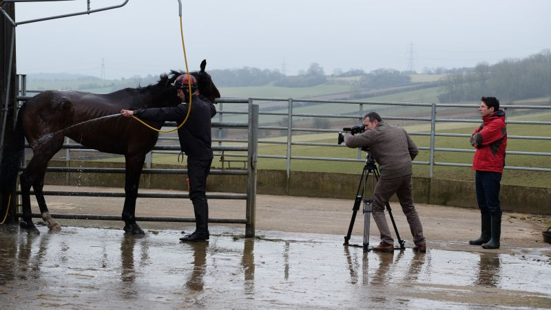 Being filmed which having a wash.