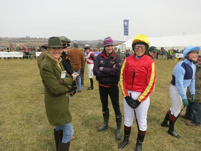 Rosie Vestey with her daughter Tamara who was having her first ride in a point to point