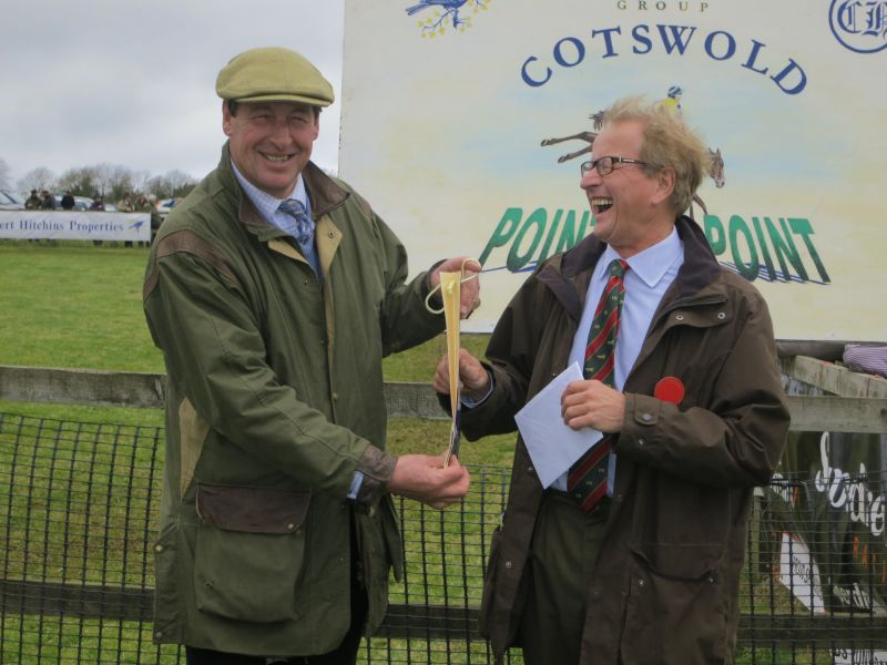 Here I am presenting George Dowty with his leaving present for 30 years of chairmanship of the point to point