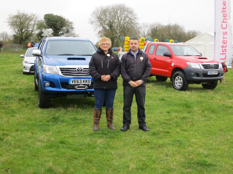 Cathy Gardener and Scott Probert in front of the Listers Toyota stand