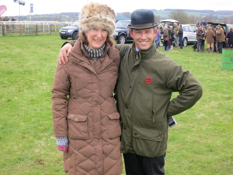 Sophie George wife of trainer Tom with ex jockey and steward Rupert Wakely