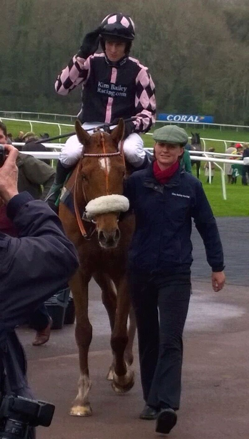 Sandra Steer Fowler's home bred Such A Legend returning to the winners enclosure after winning the novice hurdle at Chepstow on Saturday