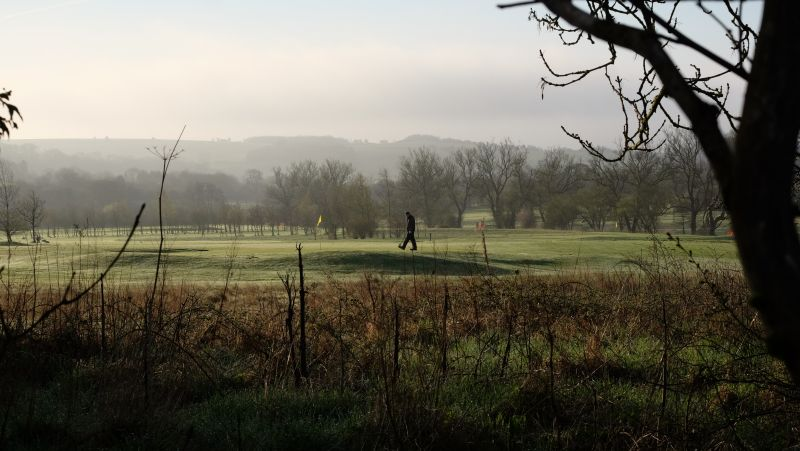 Early morning work on the Shipton Golf course