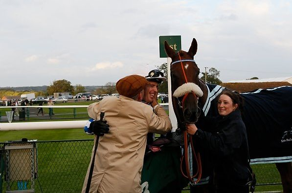 A kiss for the jockey!! Yes a very happy owner