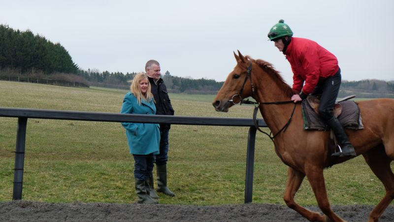 Andy and Sandy Page with The Norse dancer filly passing them. They joined the A&R Racing club.
