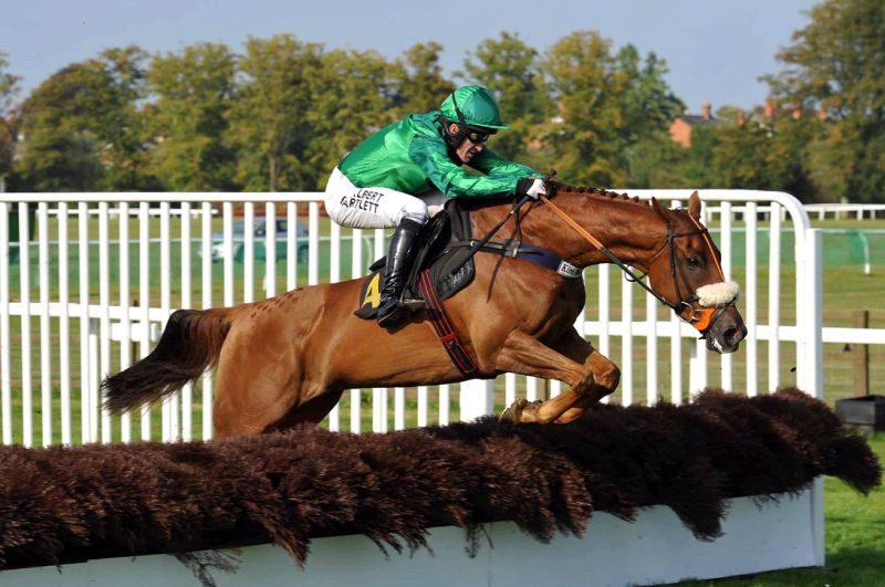Patsys Castle jumping the last well clear at Worcester on Tuesday