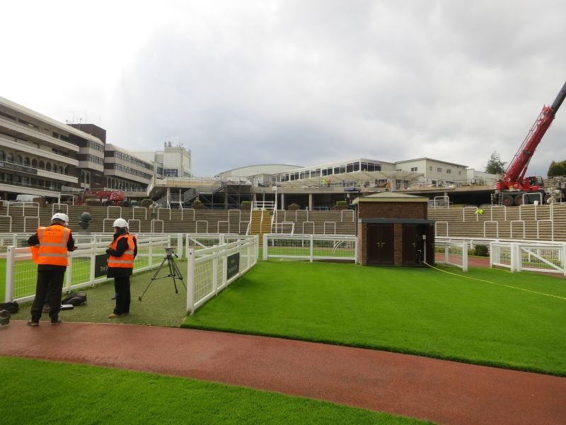 The winners enclosure and behind