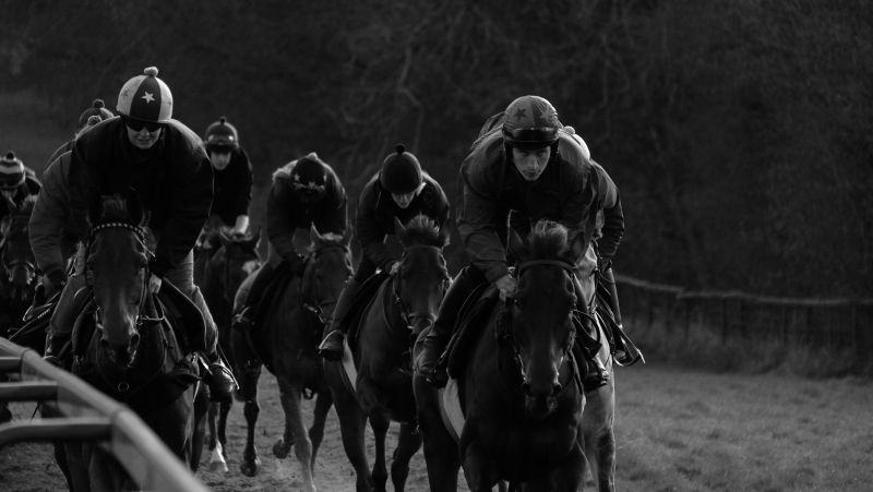 Harry Topper far side leading the string
