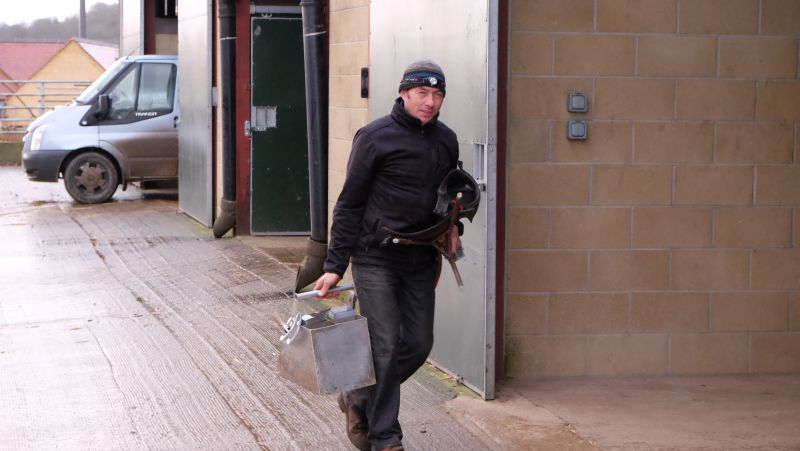 Andy Martin our blacksmith rushing to work!