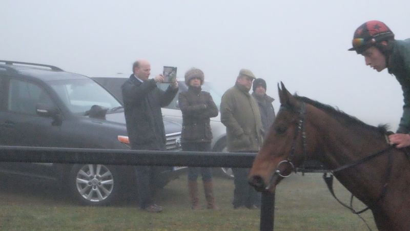 David Liz and Keith Ellis watching the horses in the fog