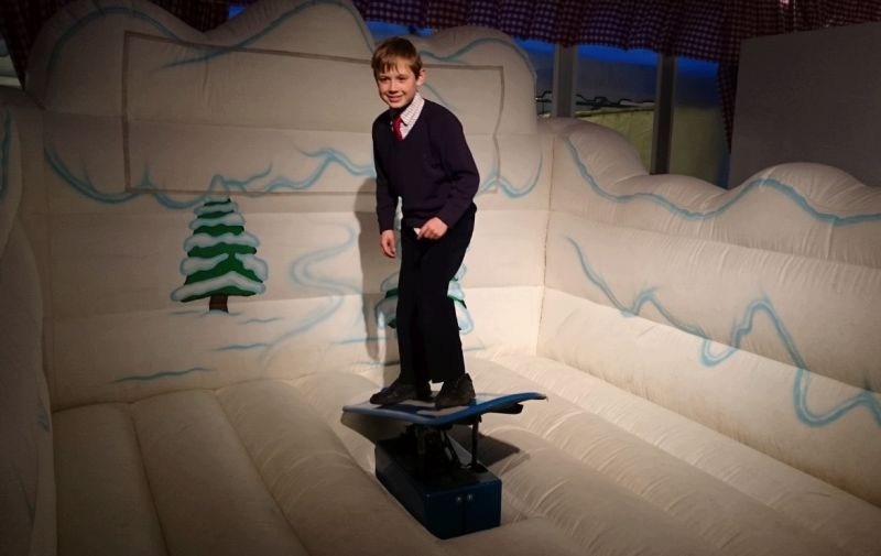 Archie practicing his snowboarding at the Apres Ski party at Cheltenham.. Why dont you have a go today?