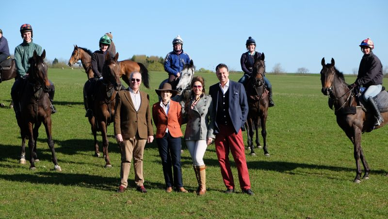Nick and Pamela Prior and Lisa and Mats Lindvall who were here for a charity morning on the gallops