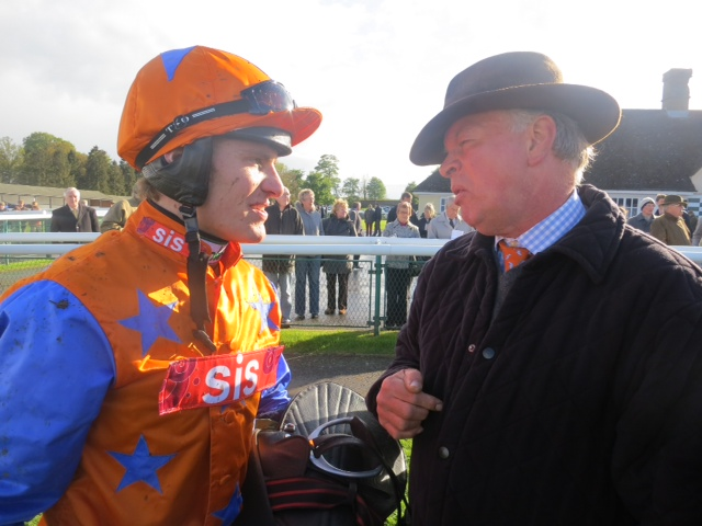Nick Scholfield telling Bishohill Jack's owner Neil Jennings how well his horse ran