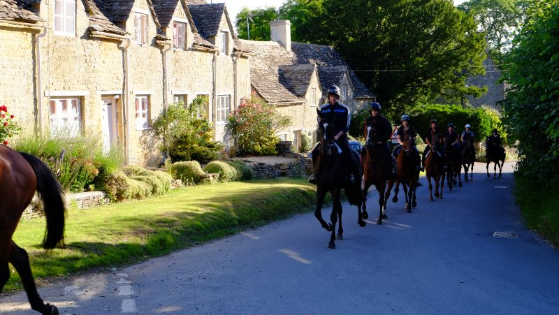 Trotting through Withington Village past the stunning Cotswold cottages