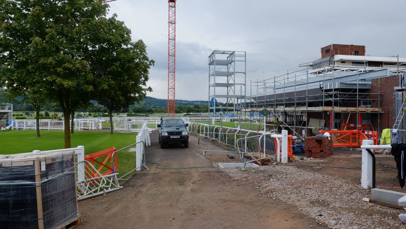 The walkway through to the famous Cheltenham paddock from the pre parade ring. The weighing room is on the right