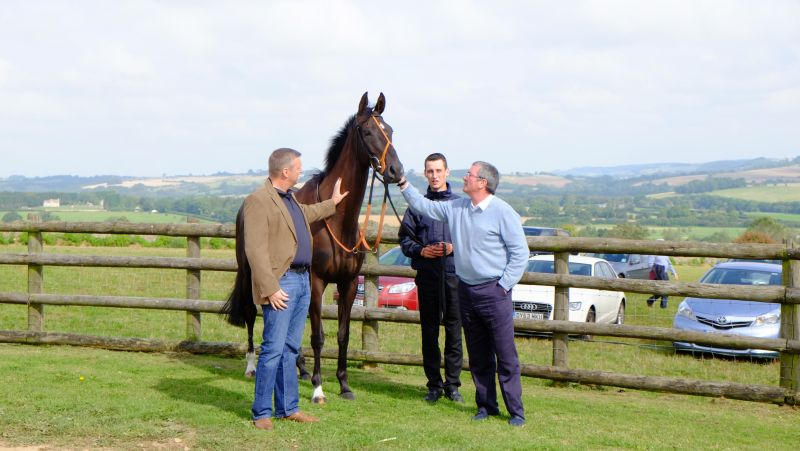John Battershall and Nick Cook with their horse Midnight Oscar who won last week at Uttoxeter