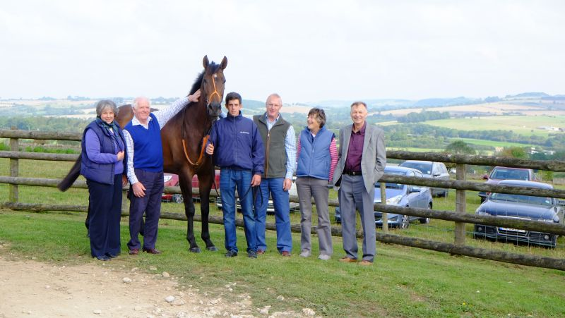 Mor Brook with his owners Fiona and Peter Woodhall, Mark and Melinda Laws and Colin Stewart