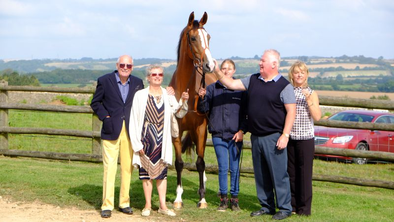 Taras Rainbow with her owners Peter and Olive Smith and Paul and Theresa Forrest