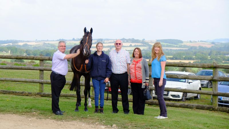 Milord with his owners Vince Burmingham, David and Pauline Price and Helen Hibbert