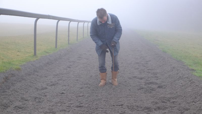 Higgs testing the depth of the all weather surface on the gallop.. we check regularly