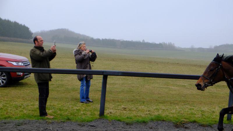 Mrs Johnson watching her horse Lady Llanarmon cantering