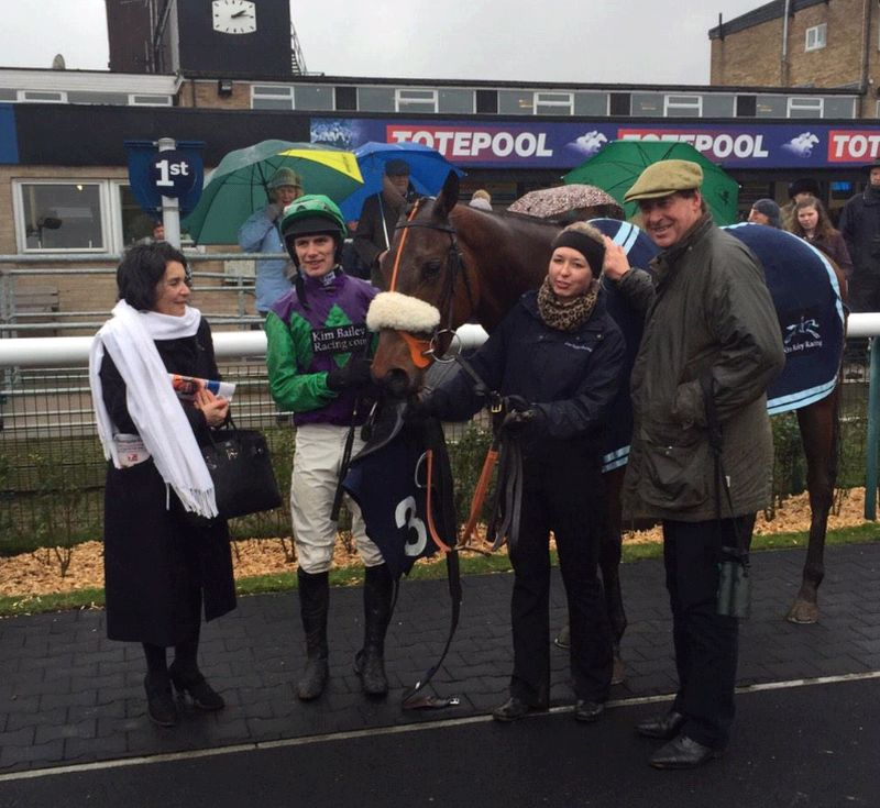Julia Baldanza with her horse Grand March after winning the first at Huntingdon yesterday