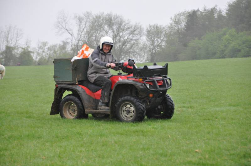 Pat on his quad bike checking the sheep