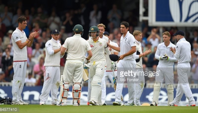 Sporting gesture.. A guard of honour for Michael Clarke from the English players on his last ashes test.