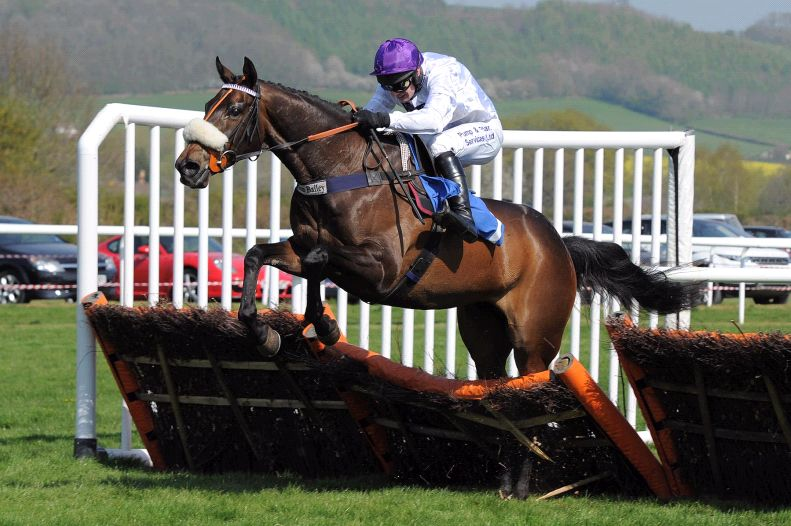 Jimmy The Jetplane jumping the last when winning at Ludlow.. do look at his back legs.. they were unblemished after.