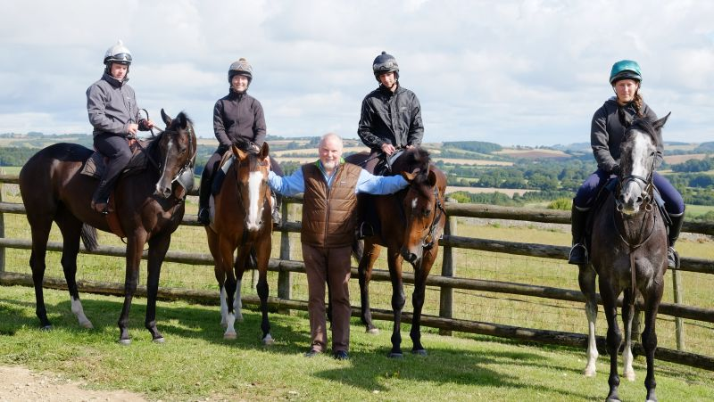 Norman Carter with his horses.. Milord, Taras Rainbow, Mor Brook and Sunblazer