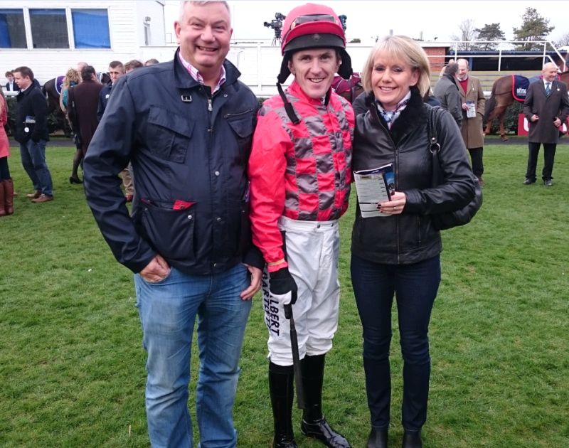 Andy and Ali Sulin with their jockey AP McCoy