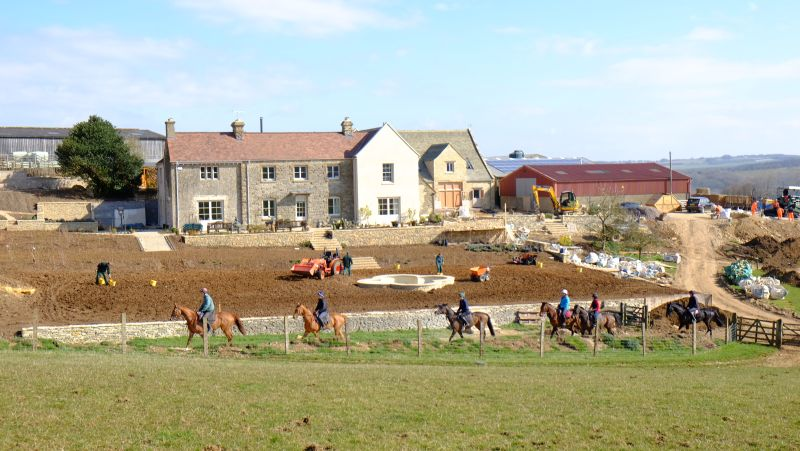Heading home past the ever changing Thorndale Farmhouse
