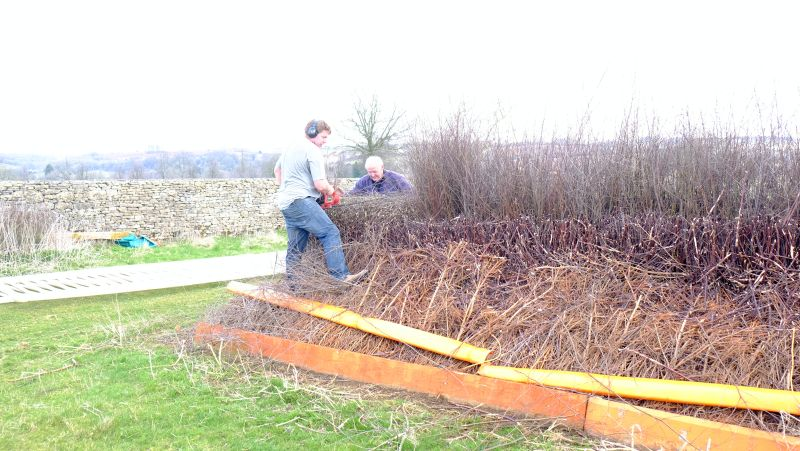 Restuffing and levelling the point to Point fences