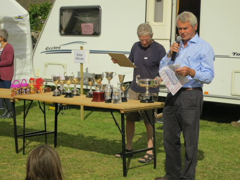 Show chairman Charles Arkell about to start prize giving