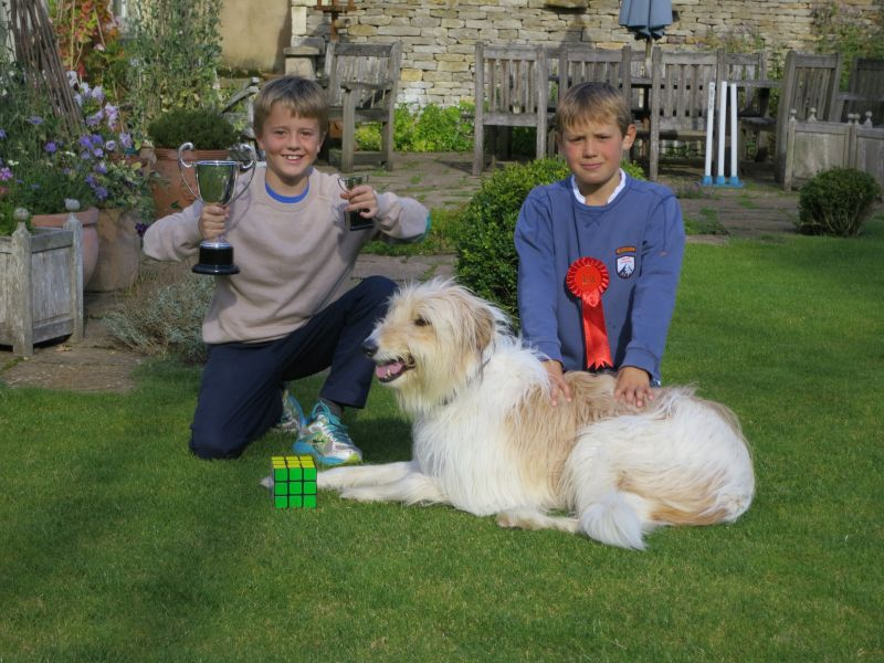 William Parker with his trophie and Archie and his winning dog Bear.. A fun family day out..