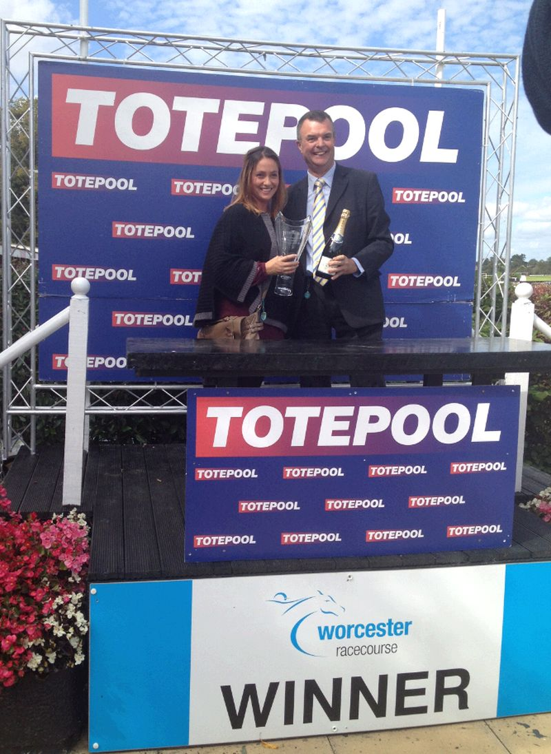 The future Mrs Nicholls.. Evelyn Bartlett receiving the tophy in behalf of owner Bill Ives.