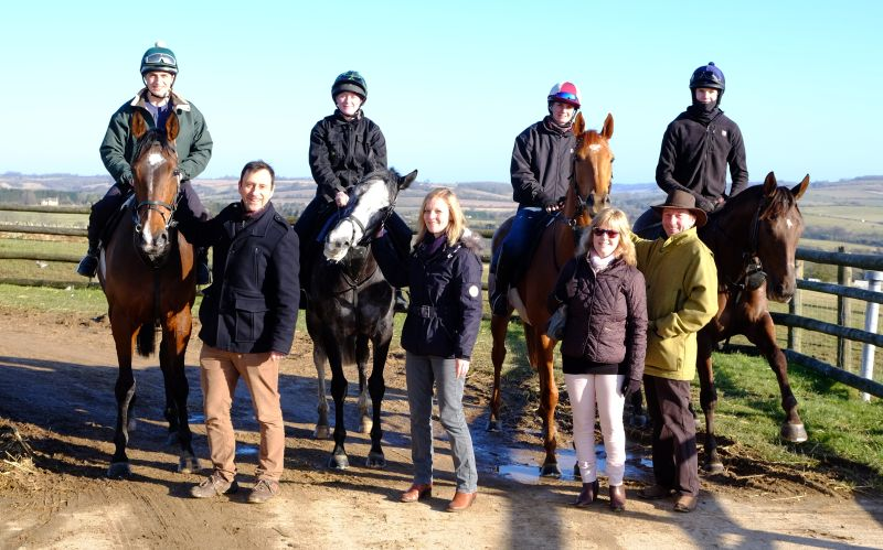 ''A morning on the gallops''  Rob and Liz Little and Sue and Martin Atkins meeting some of the horses.