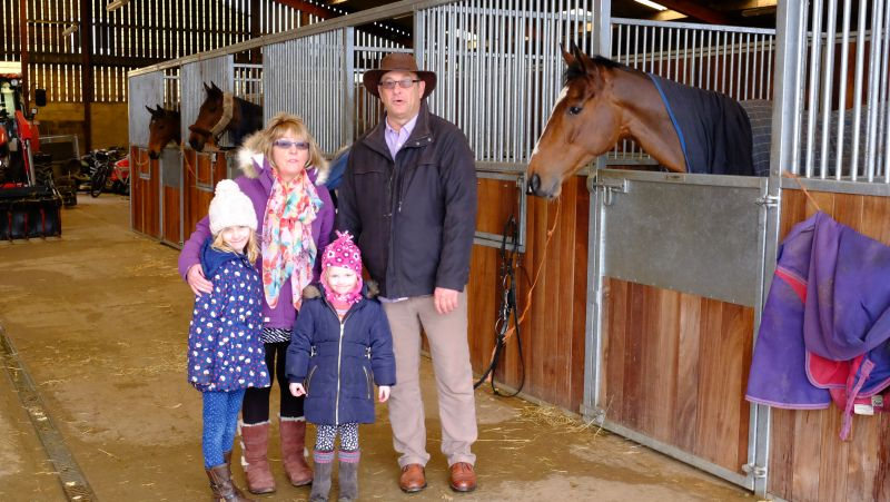 Eddie Uzzell and family with his horse Boolavard King