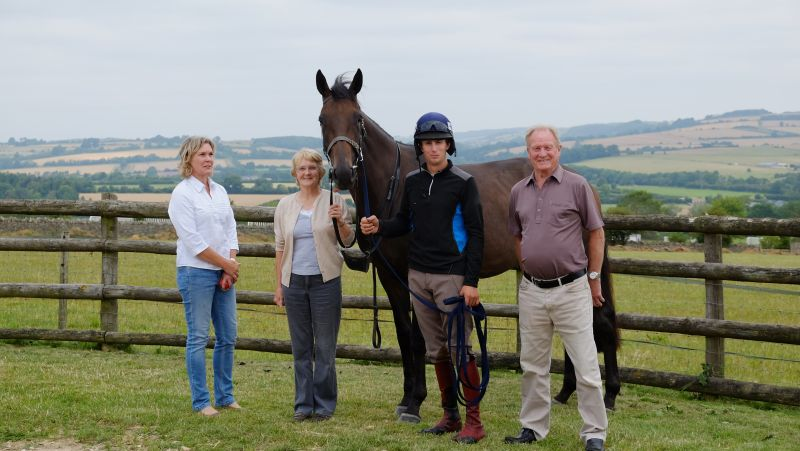 Sandra, Pam and Derek with sandra's latest homebred whose stable name is rather aptly 'Twiggy'