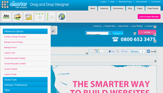 create both small and large websites using drag and drop designer