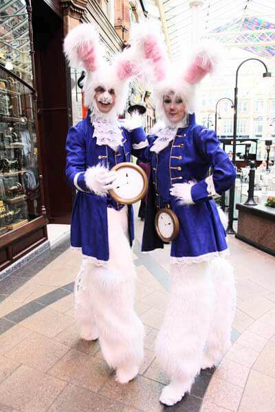 White Christmas Bunny Stilt walkers