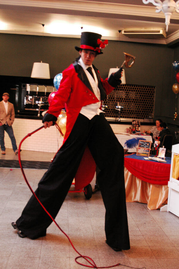 Ringmaster stilt walker to hire