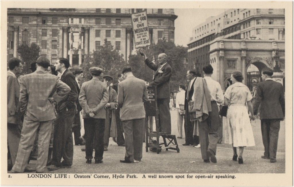 2. London Life: Orators' Corner, Hyde Park. A well known spot for open-air speaking.