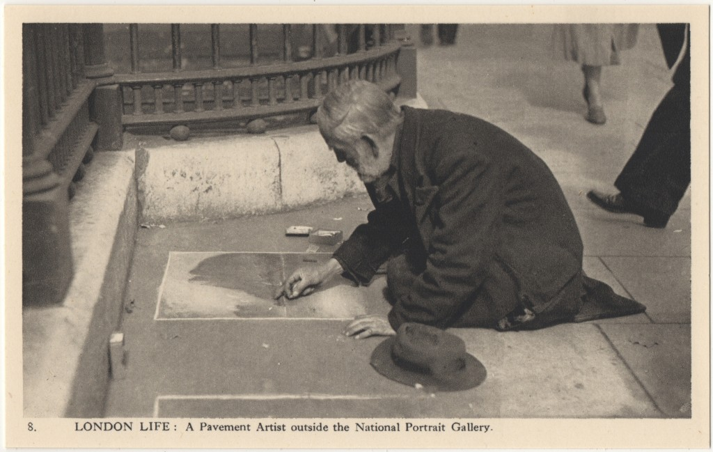8. London Life: A Pavement Artist outside the National Portrait Gallery