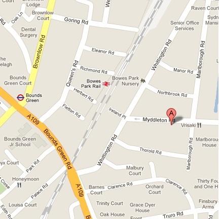 Bowes Park map