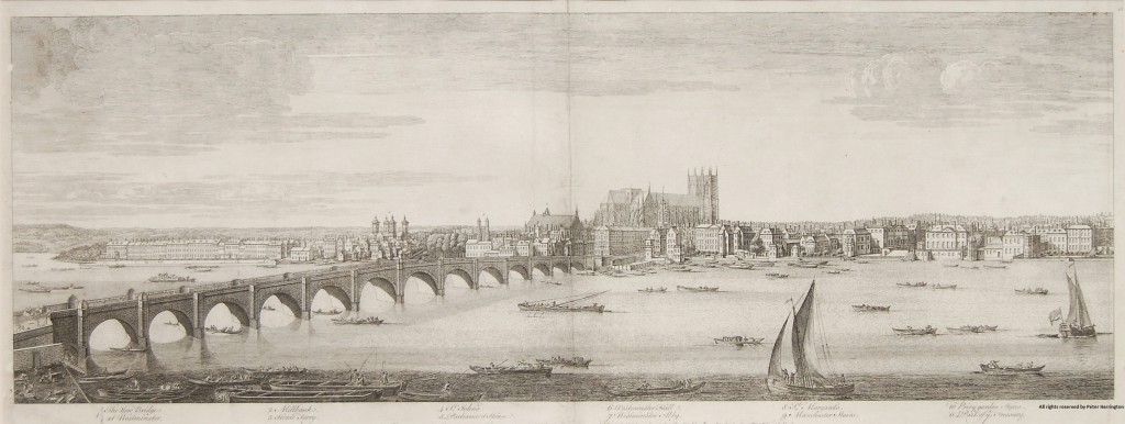 Buck's Panorama of London, Plate 1, New Westminster Bridge to Treasury Building.