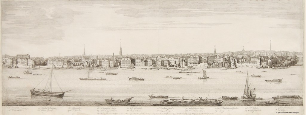 Buck's Panorama of London, Plate 2, Whitehall to Somerset House.