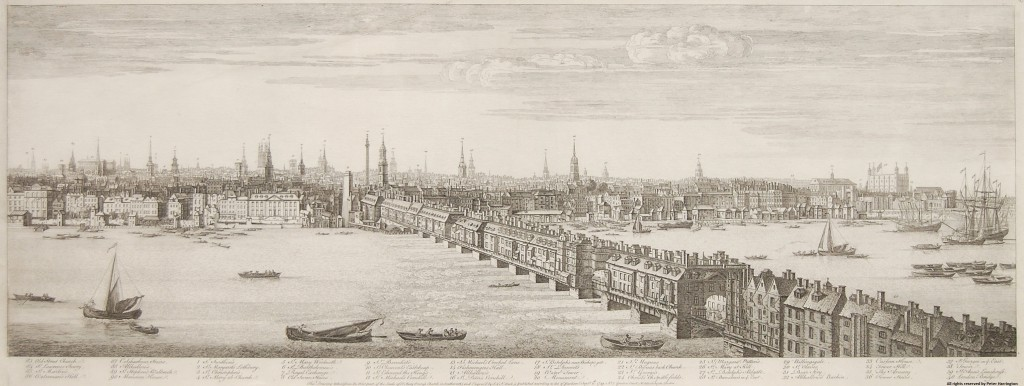 Buck's Panorama of London, Plate 5, Old Street Church to The Tower of London.